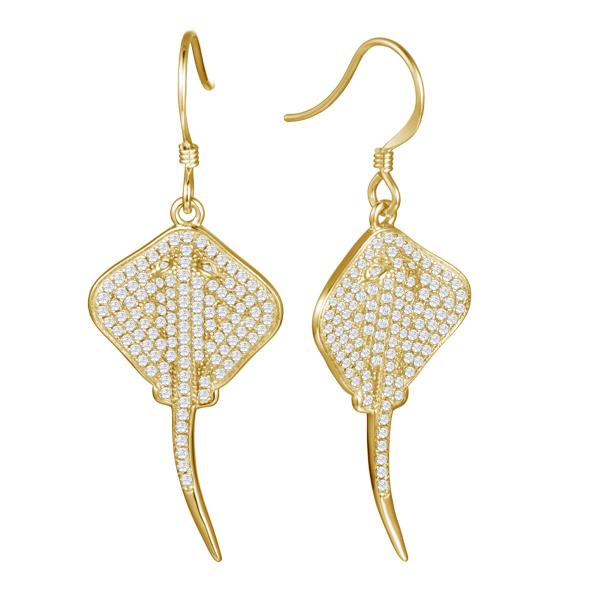 Pavé Stingray Hook Earrings